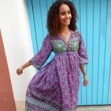 Robe longue violet et kaki