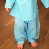 Pantalon bébé coton turquoise