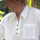 Tunique blanche homme col classique
