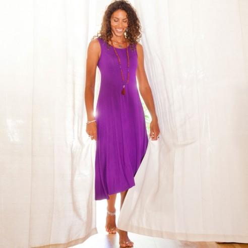 Robe longue été femme violette