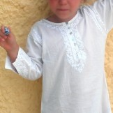 Tunique enfant brodée longue blanc