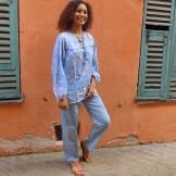 Pantalon femme bleu acier
