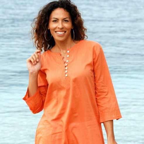 Tunique de plage orange - KAFTANS & TUNICS -