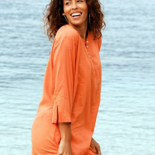 Tunique de plage orange - KAFTANS & TUNICS - Tortue de Mer