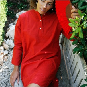 Tunique indienne rouge - Bohemian tunics - Tortue de Mer