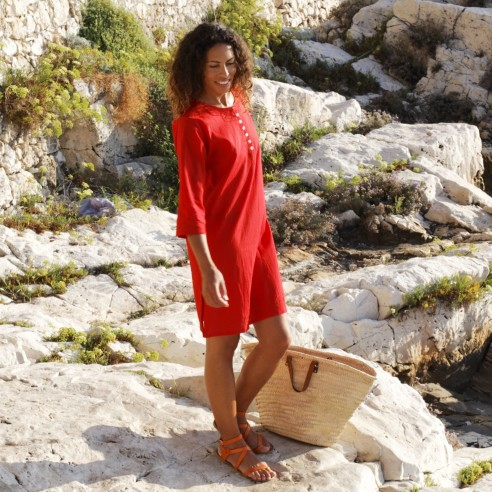 Tunique de plage rouge - Beach kaftan - Tortue de Mer