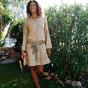 Tunique indienne beige - Bohemian tunics - Tortue de Mer