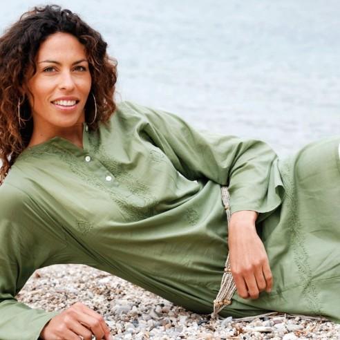 Tunique indienne verte - Bohemian tunics - Tortue de Mer