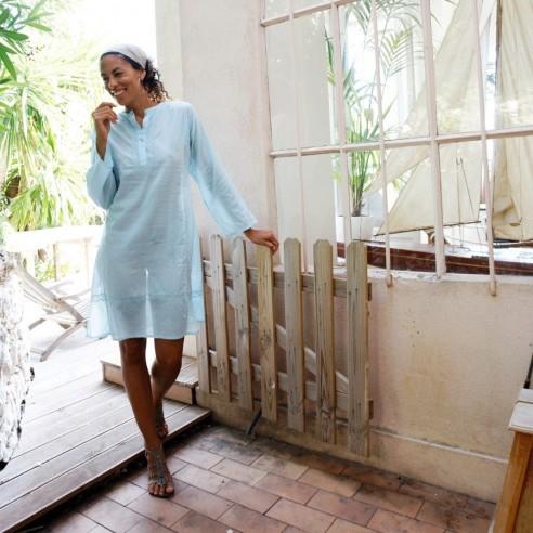 Tunique indienne turquoise clair - Bohemian tunics - Tortue de Mer