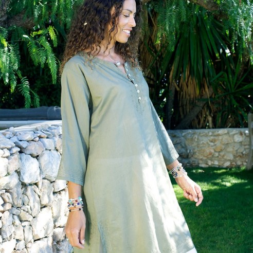 Tunique de plage kaki - Beach kaftan - Tortue de Mer