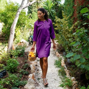 Tunique plage aubergine - Beach kaftan -