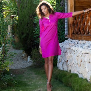 Tunique plage fuchsia - Beach kaftan - Tortue de Mer