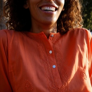 Tunique indienne orange - Bohemian tunics - Tortue de Mer