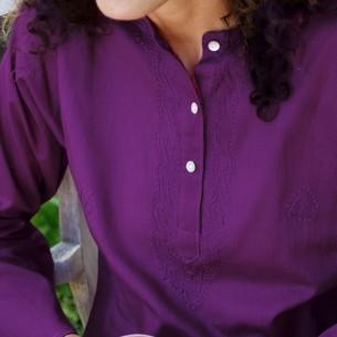 Tunique indienne aubergine - Bohemian tunics - Tortue de Mer