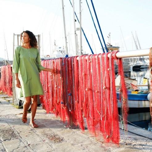 Tunique plage verte - Beach kaftan - Tortue de Mer