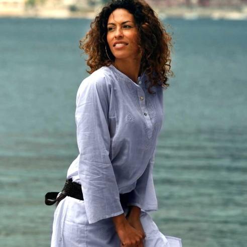 Tunique indienne bleu lavande - Bohemian tunics - Tortue de Mer