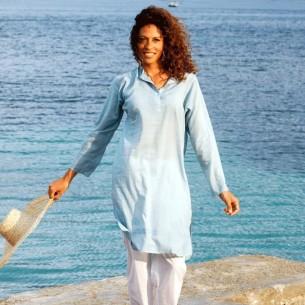 Tunique indienne bleu ciel - Bohemian tunics - Tortue de Mer