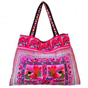 Sac bohème rose - EMBROIDERED BAGS - Tortue de Mer