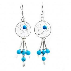Boucles d'oreilles capteurs de rêves en argent 925 - Earrings - Tortue de Mer