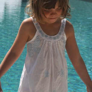 Child short summer dress light blue embroidery