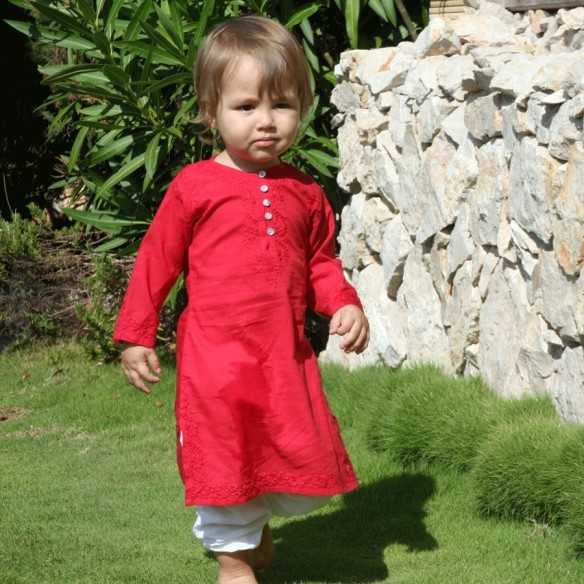 Baby long kaftan raspberry