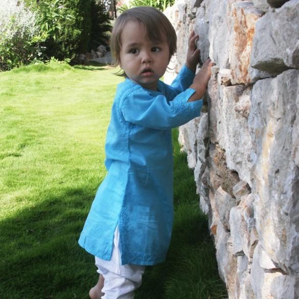 Baby long kaftan turquoise