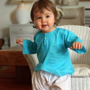 Baby turquoise cotton kaftan