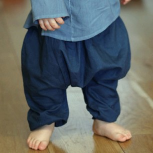 Dark green cotton baby sarouel trouser