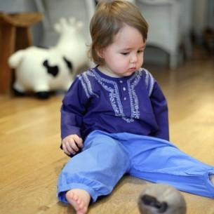 Indigo blue cotton baby trouser
