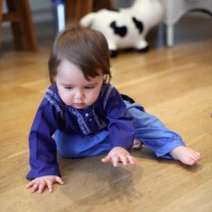 Pantalon bébé coton bleu indigo