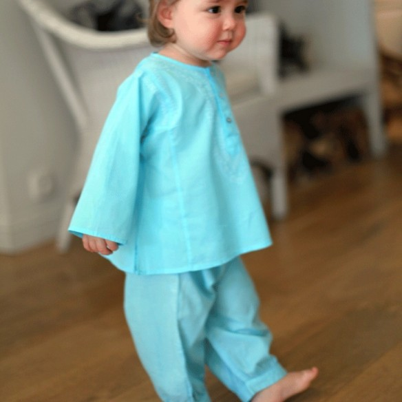 Turquoise cotton baby trouser