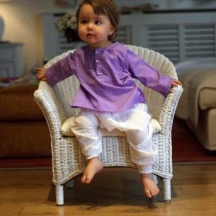 Baby flower embroidered kaftan purple