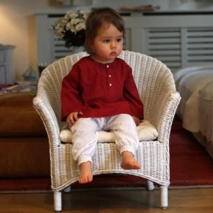 Baby flower embroidered kaftan marsala