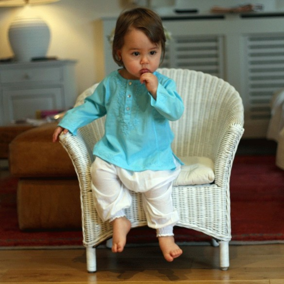 Baby flower embroidered kaftan turquoise
