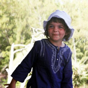 Kids Summer kaftan dark blue