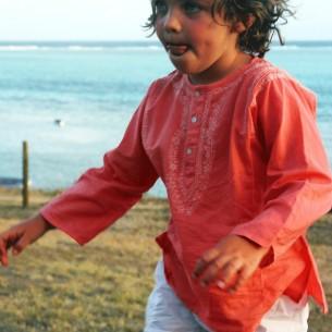 Kids Summer kaftan coral