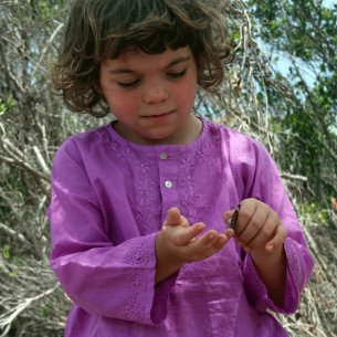 Child flower embroidered kaftan orchid