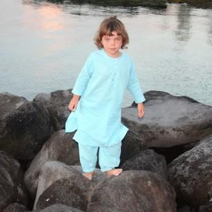 kids long kaftan turquoise