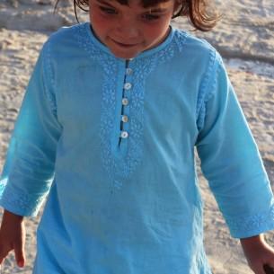 Tunique enfant brodée longue turquoise