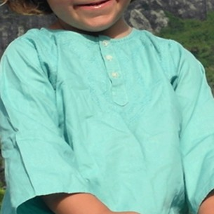 children cotton kaftan turquoise green