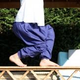 Sarouel voile de coton bleu foncé