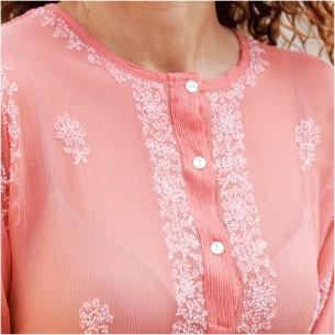 women silk crepe kaftan coral
