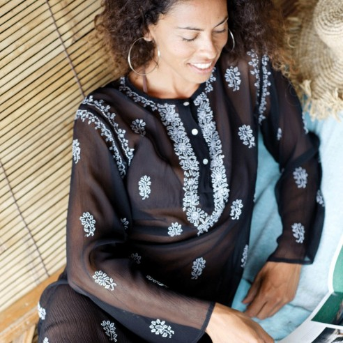 Silk crepe kaftan - KAFTANS & TUNICS - Tortue de Mer