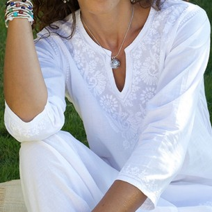 women white embroidered short tunic