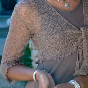 Boléro femme cache-cœur brun clair