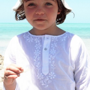Flower embroidered kaftan - KAFTANS & TUNICS - Tortue de Mer
