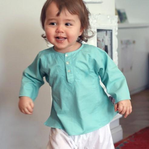 Tunique bébé fille vert turquoise
