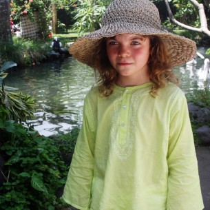 Kids Summer kaftan lime green