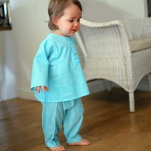pantalon bebe turquoise