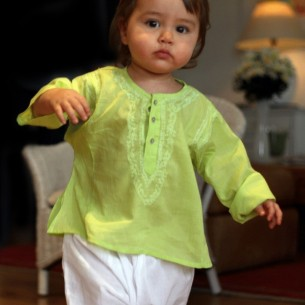 Baby lime green summer kaftan